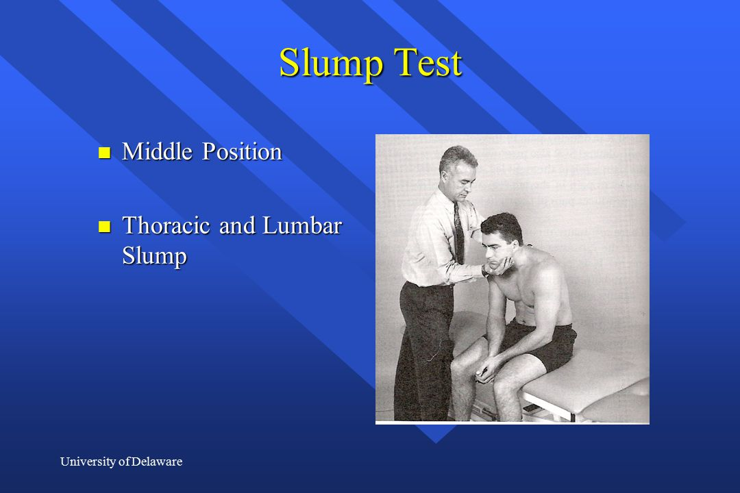 Slump Test Middle Position Thoracic and Lumbar Slump
