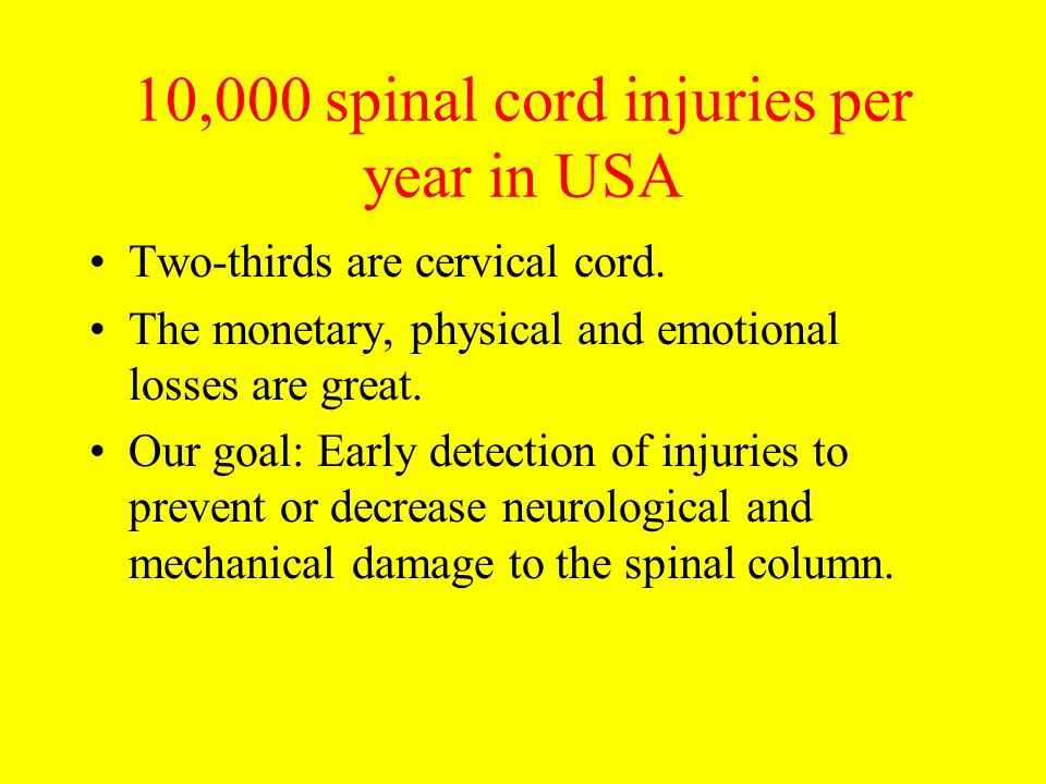 10,000 spinal cord injuries per year in USA
