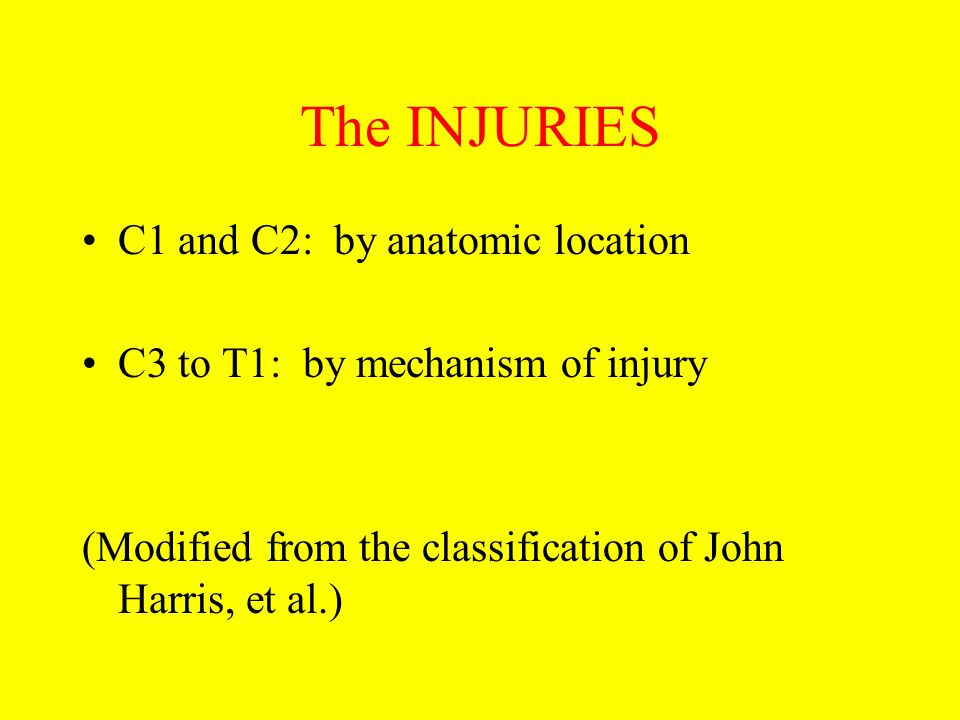 The INJURIES C1 and C2: by anatomic location
