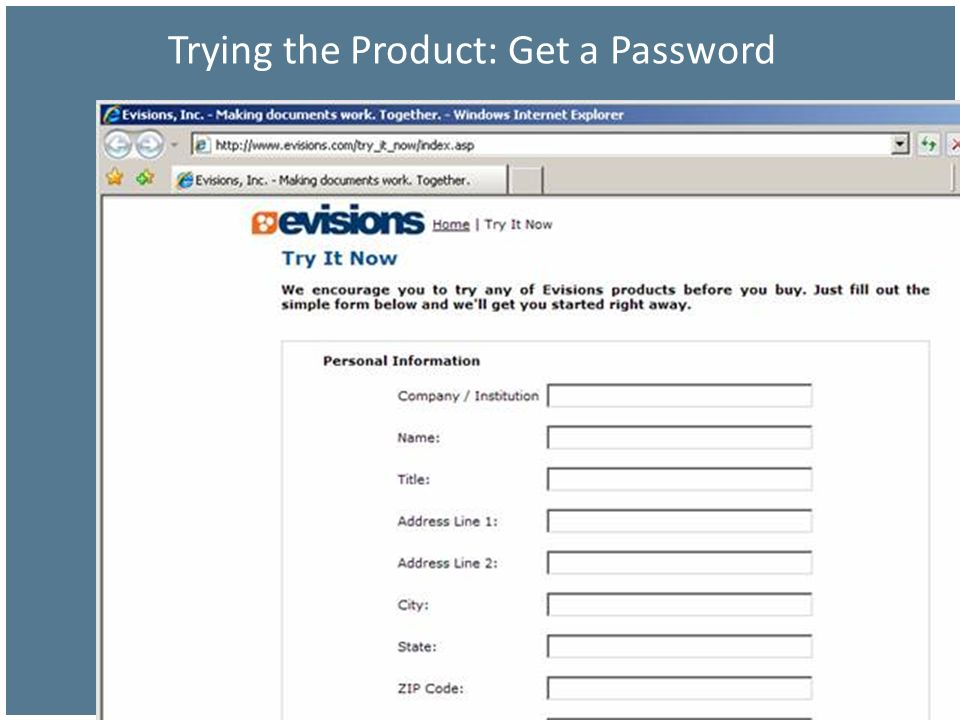 Trying the Product: Get a Password