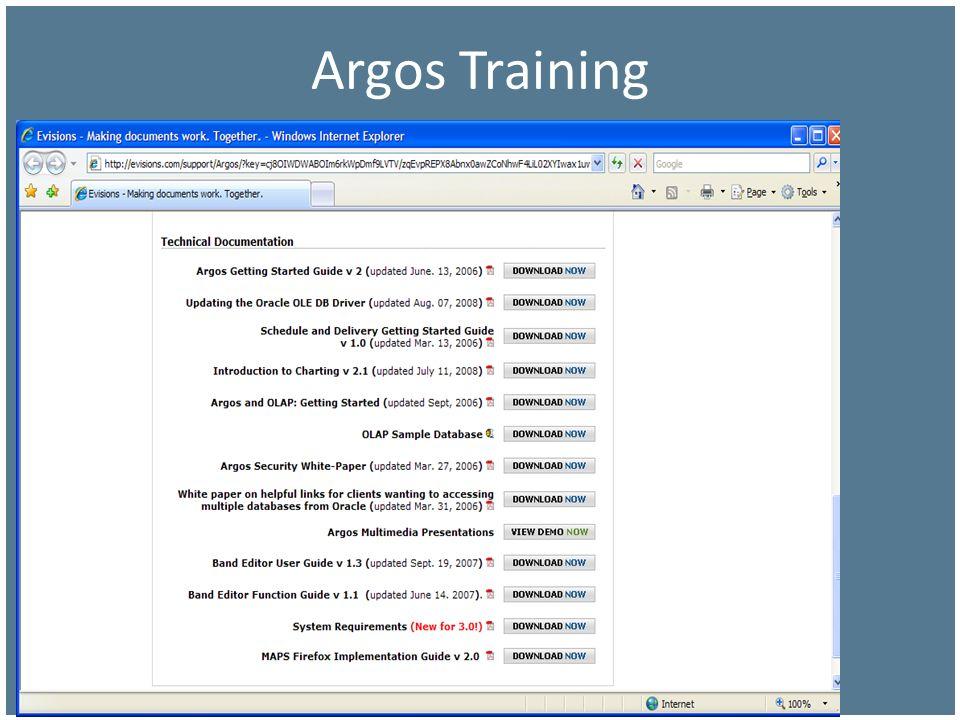 Argos Training So Many Options … (next page)