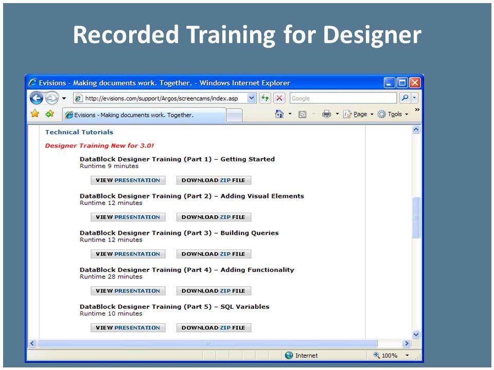 Recorded Training for Designer
