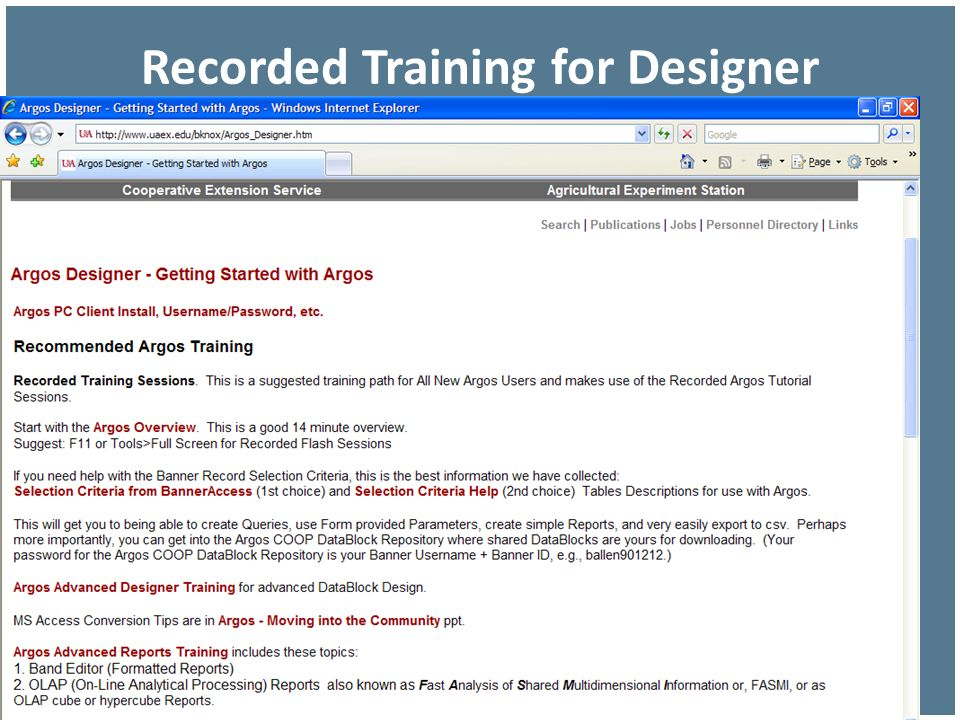 Recorded Training for Designer