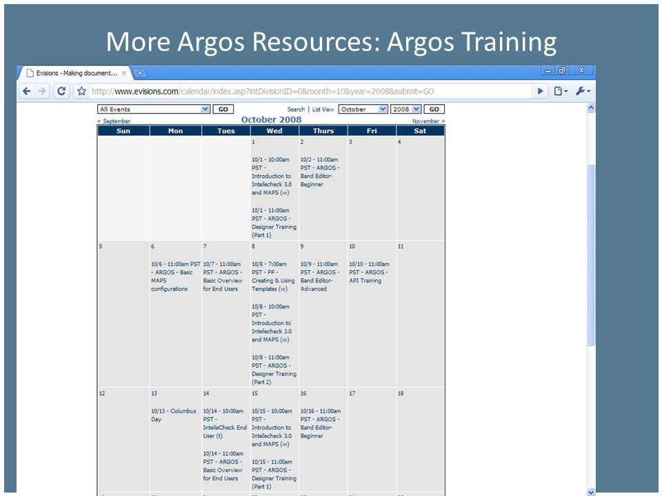 More Argos Resources: Argos Training