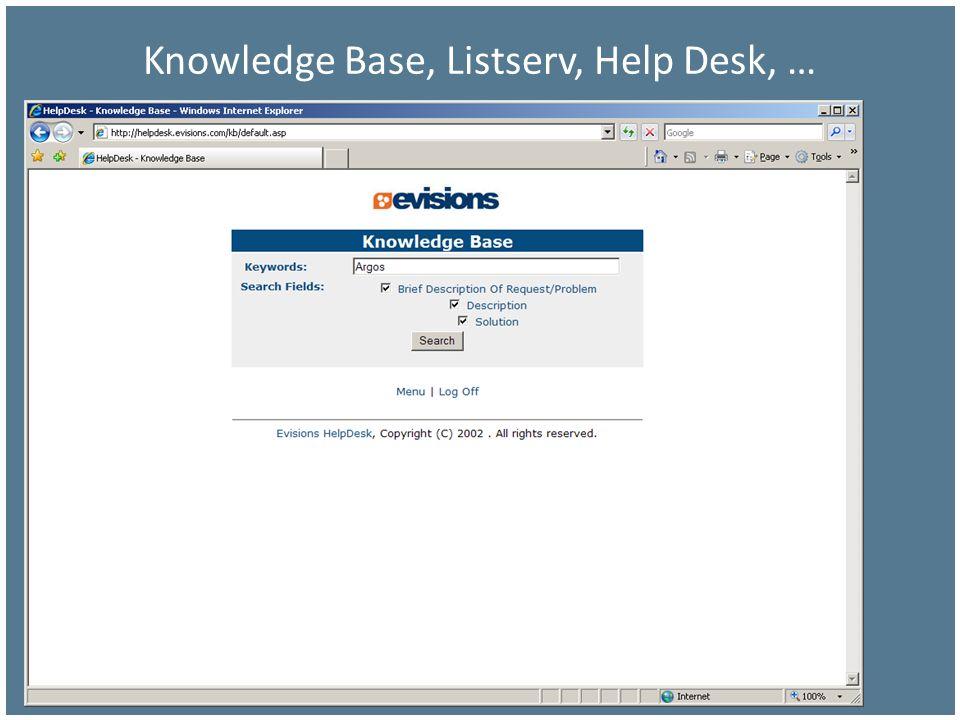 Knowledge Base, Listserv, Help Desk, …