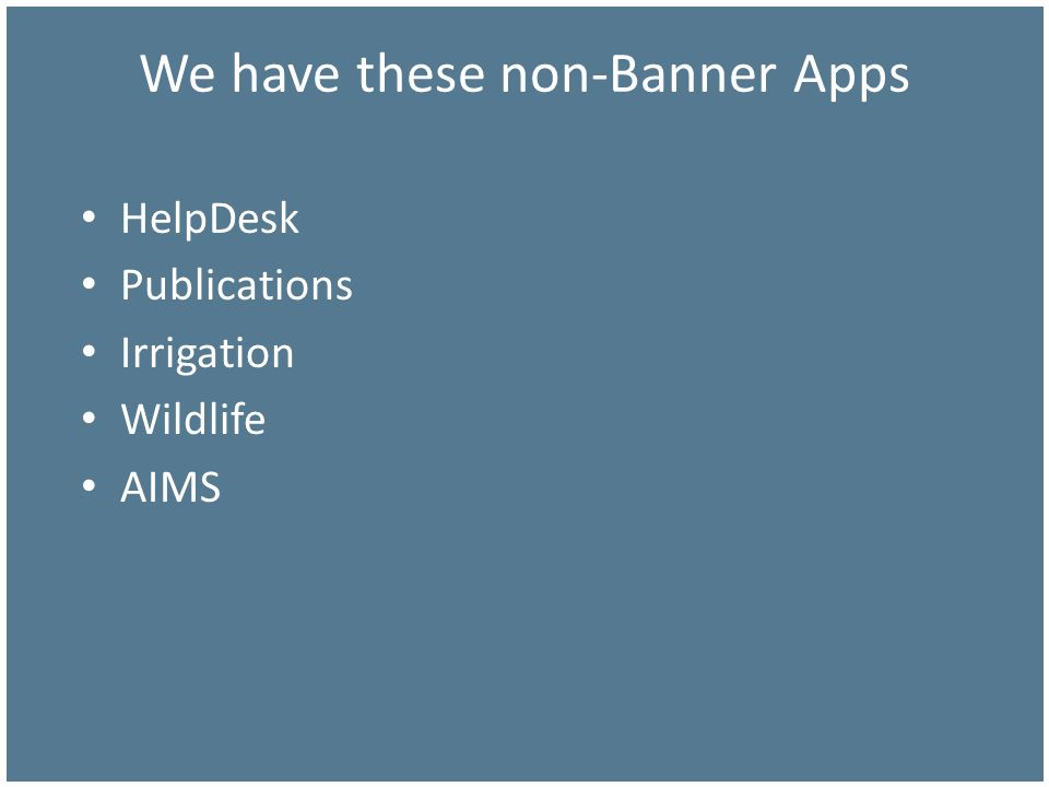 We have these non-Banner Apps