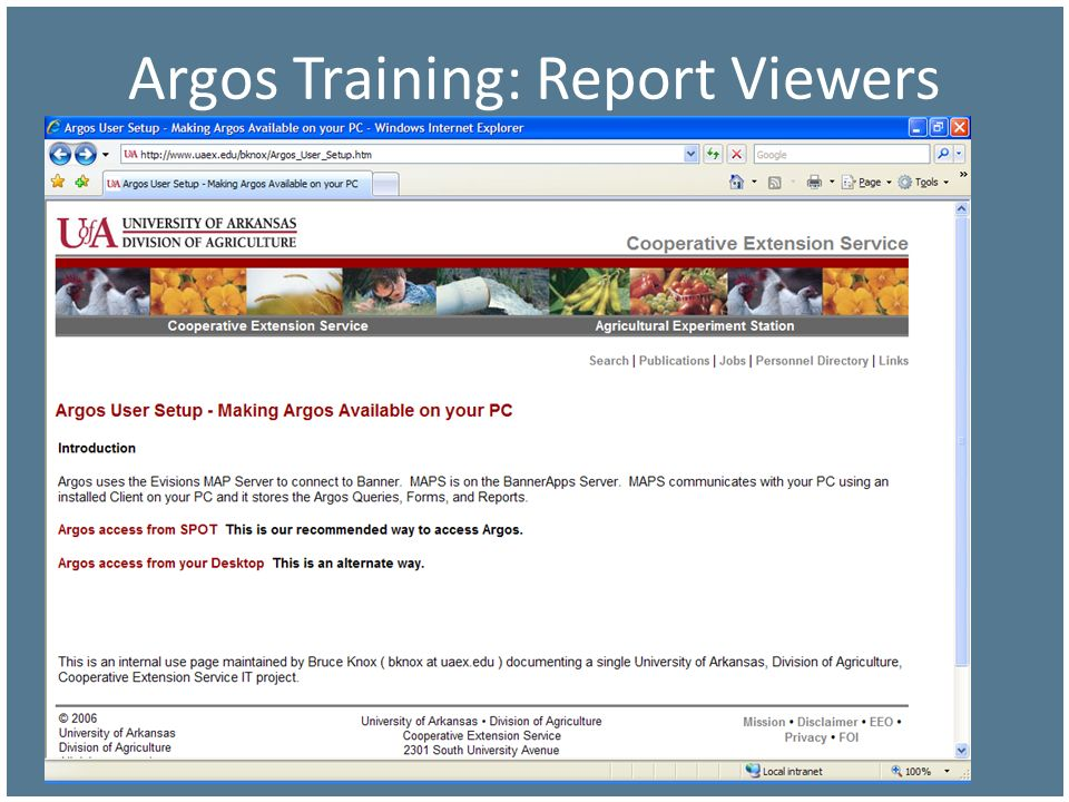 Argos Training: Report Viewers