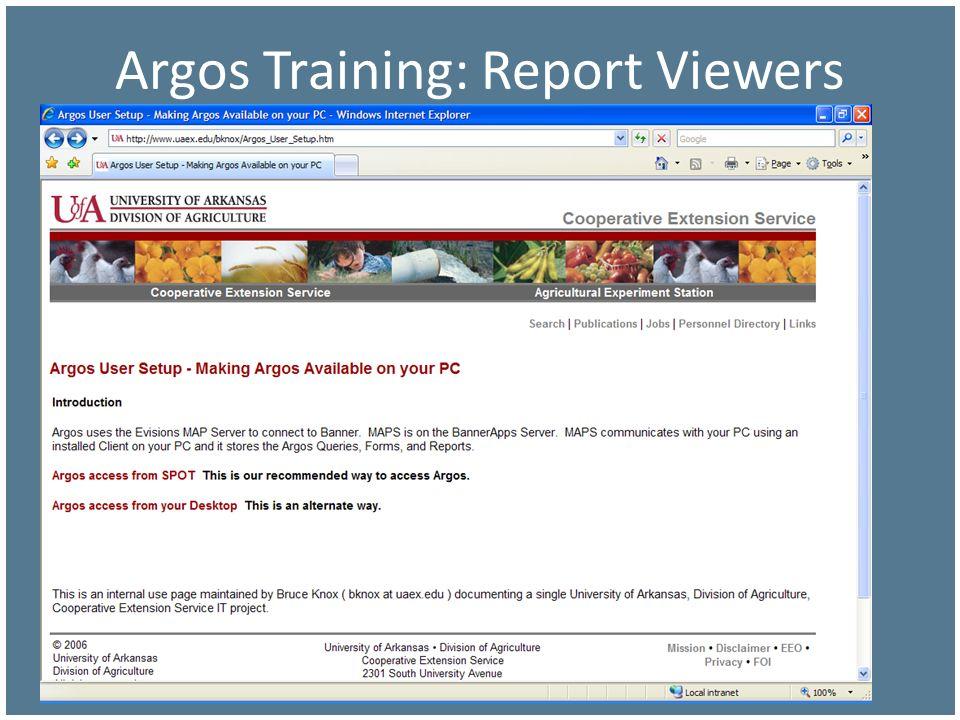 Argos Training: Report Viewers