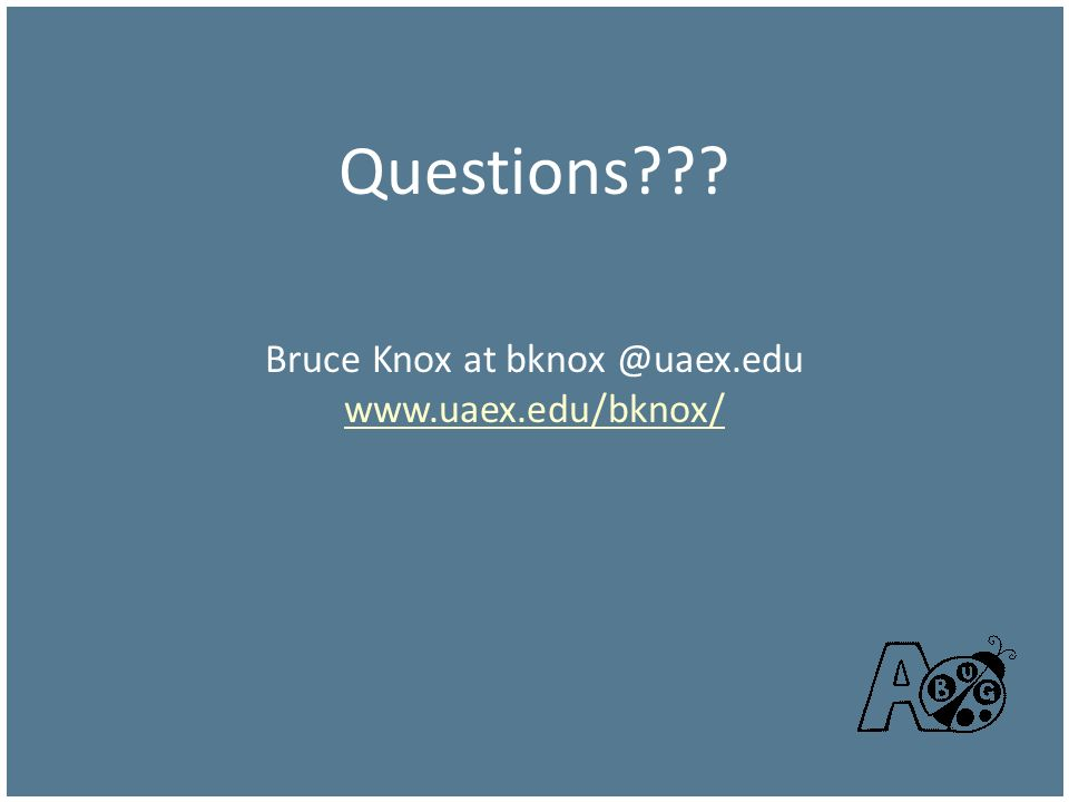 Questions Bruce Knox at