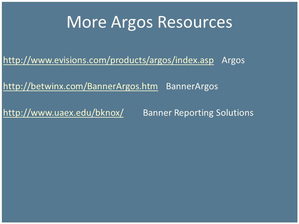 More Argos Resources http://www.evisions.com/products/argos/index.asp Argos. http://betwinx.com/BannerArgos.htm BannerArgos.