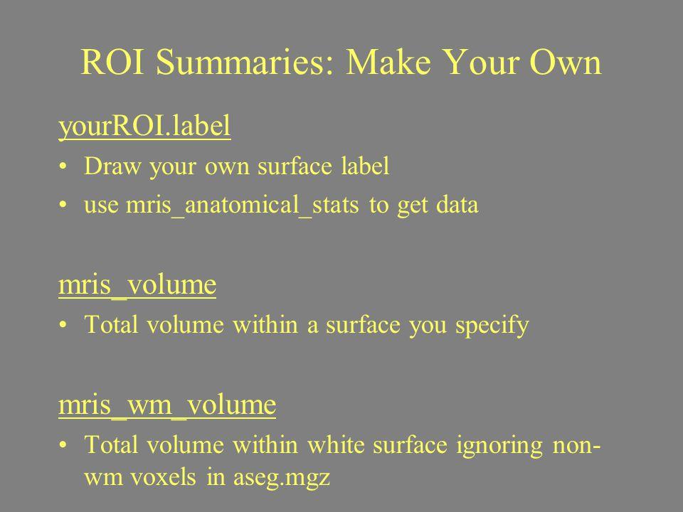 ROI Summaries: Make Your Own