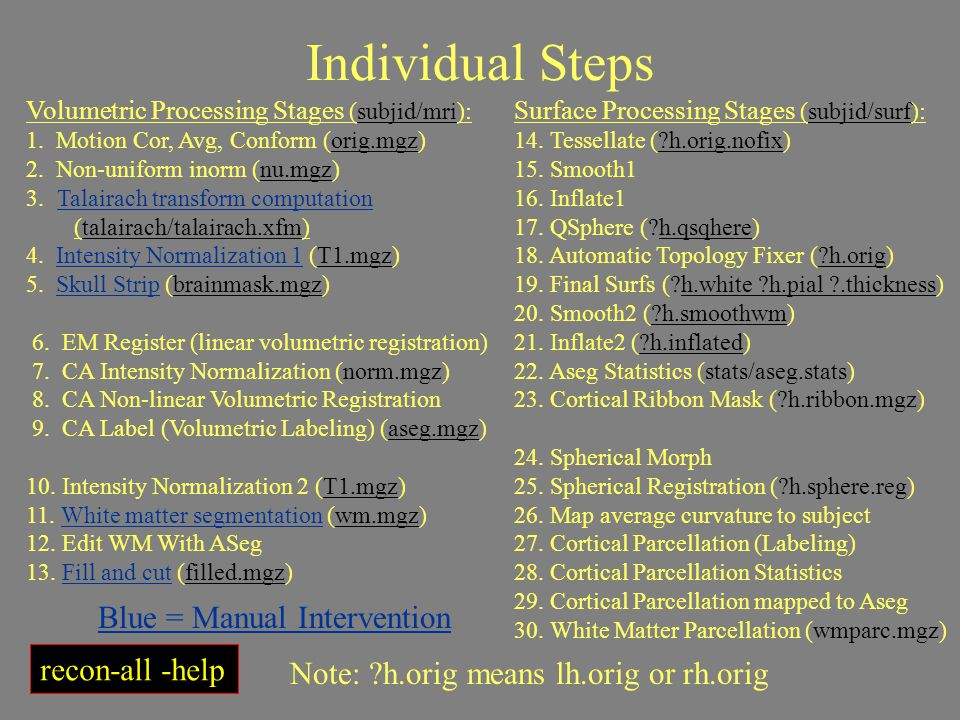 Individual Steps Blue = Manual Intervention recon-all -help