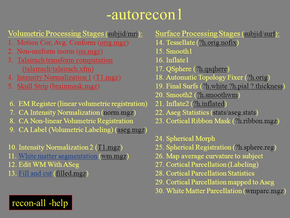 -autorecon1 recon-all -help Volumetric Processing Stages (subjid/mri):