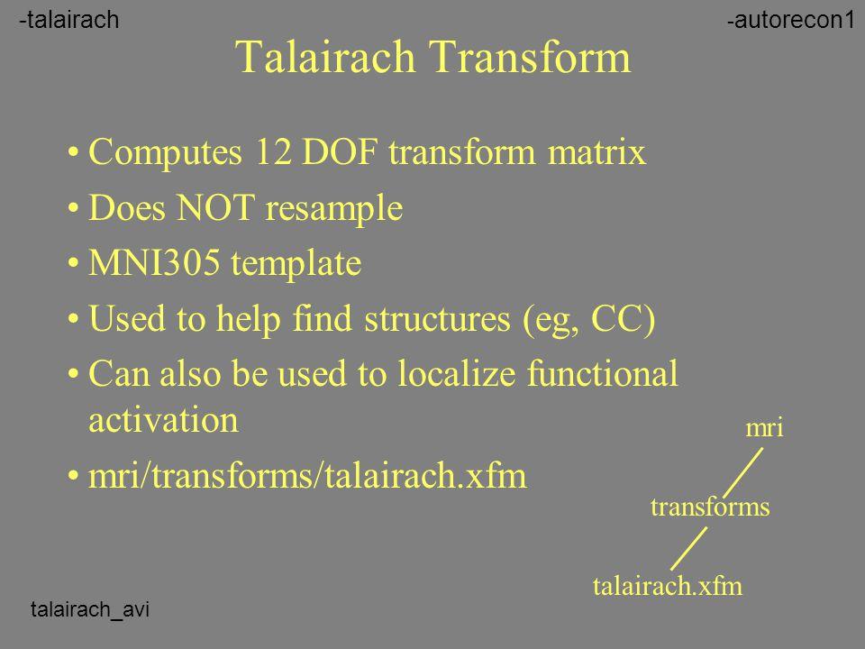 Talairach Transform Computes 12 DOF transform matrix Does NOT resample