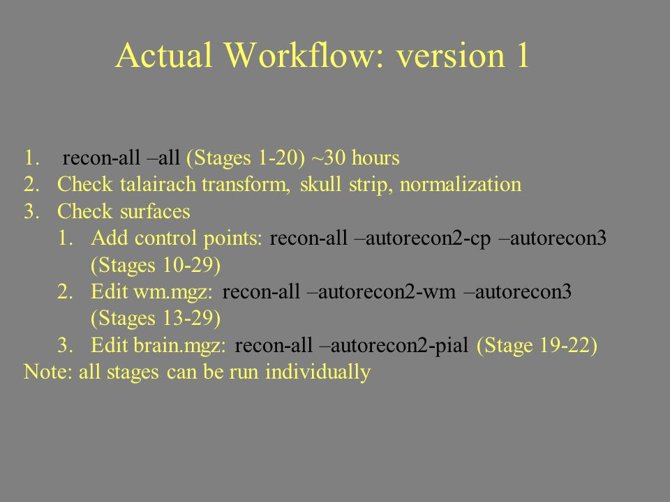 Actual Workflow: version 1