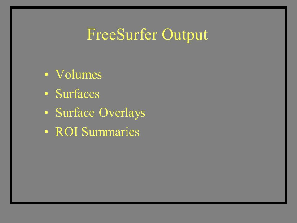 FreeSurfer Output Volumes Surfaces Surface Overlays ROI Summaries