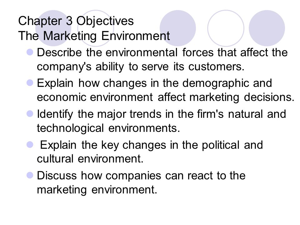 Chapter 3 Objectives The Marketing Environment