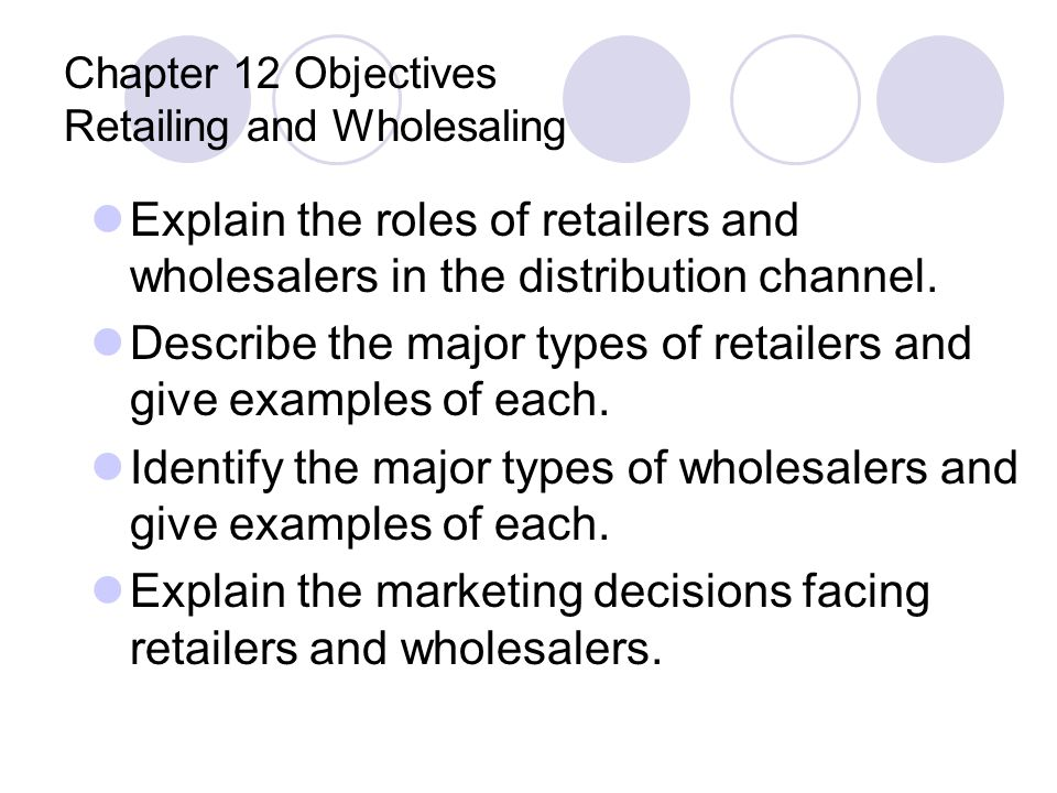 Chapter 12 Objectives Retailing and Wholesaling