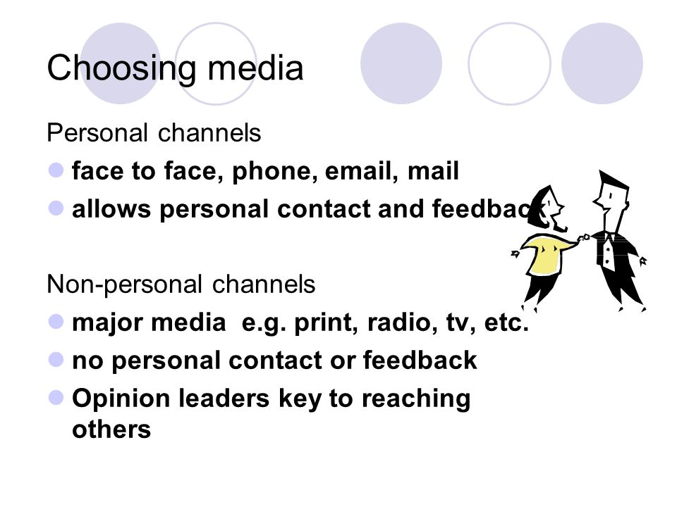 Choosing media Personal channels face to face, phone, email, mail