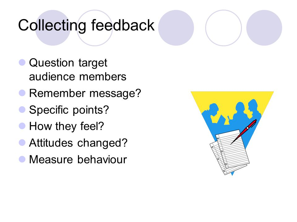 Collecting feedback Question target audience members Remember message