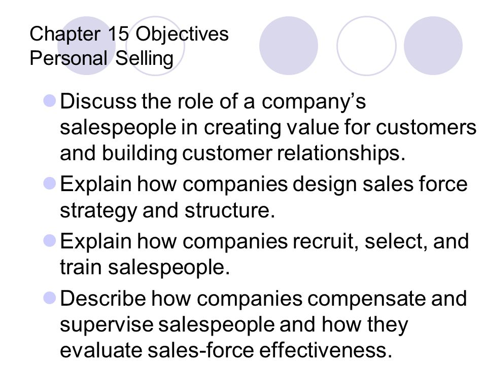 Chapter 15 Objectives Personal Selling