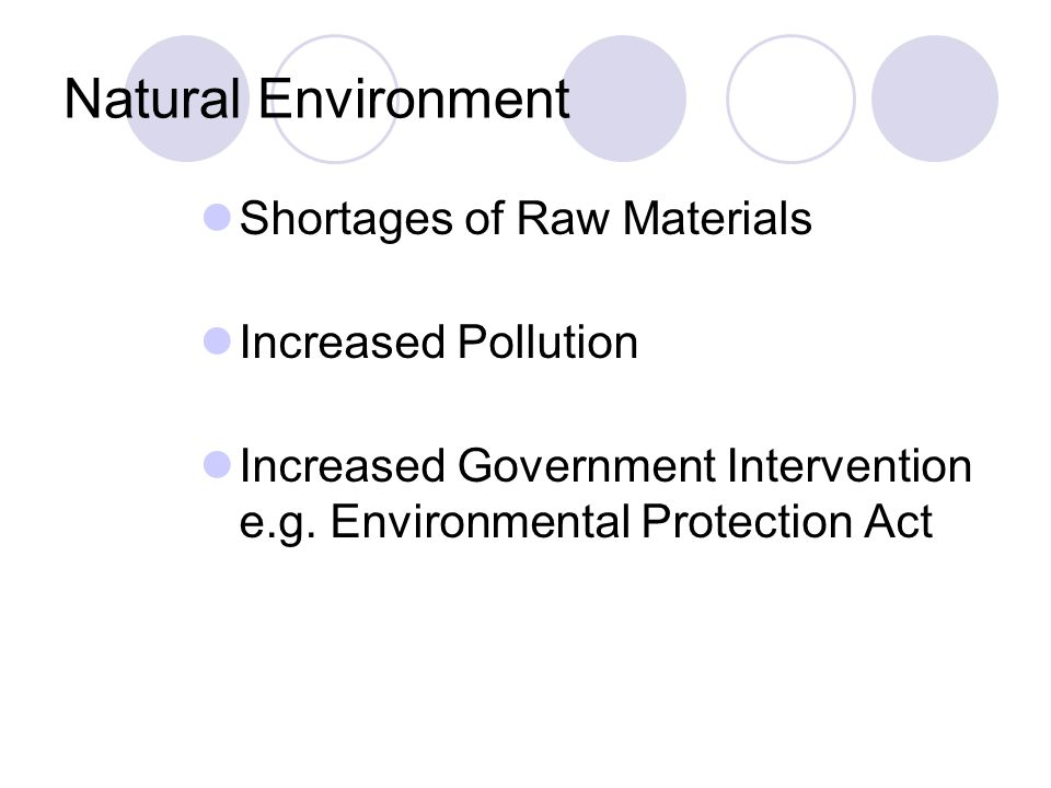 Natural Environment Shortages of Raw Materials Increased Pollution