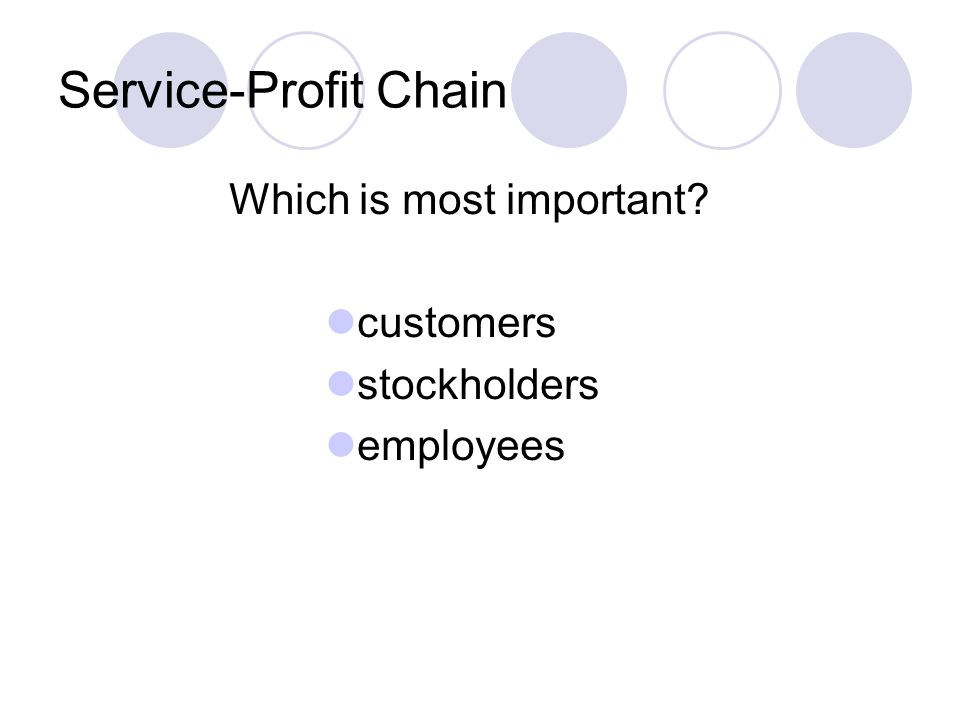 Service-Profit Chain Which is most important customers stockholders