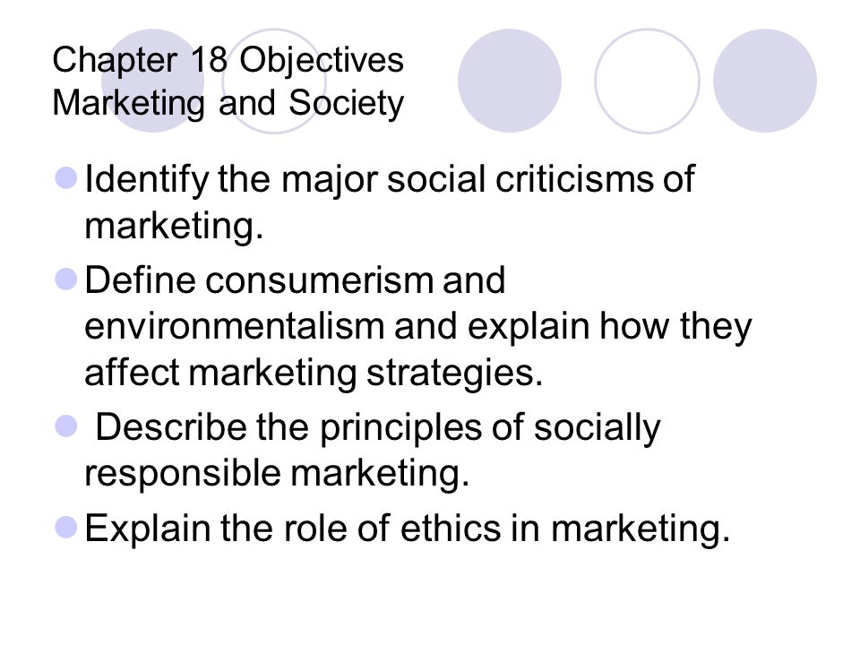 Chapter 18 Objectives Marketing and Society