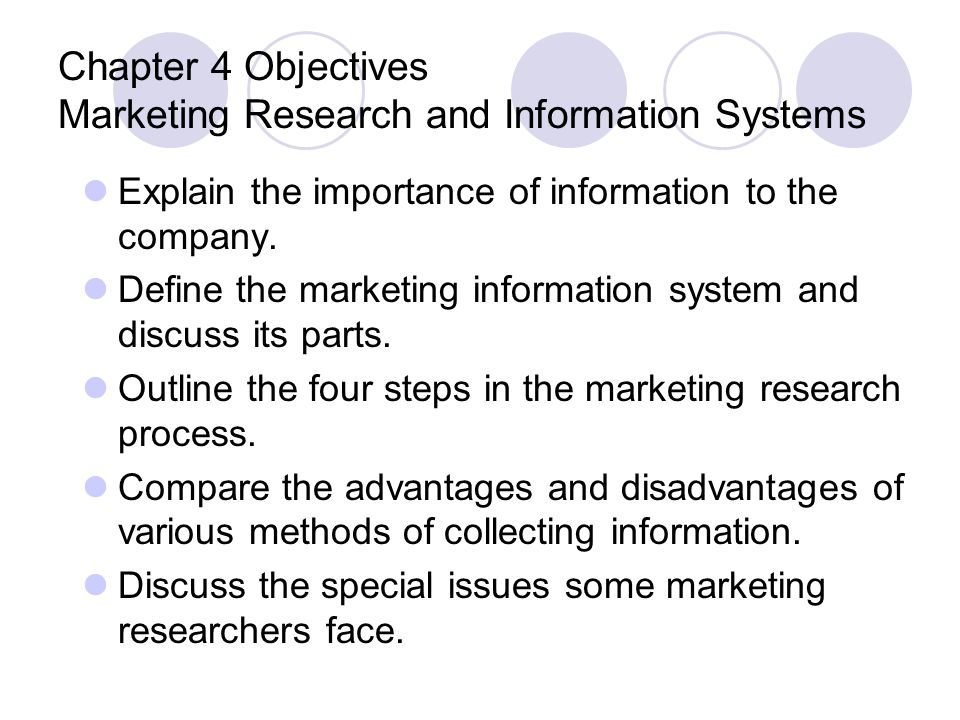 Chapter 4 Objectives Marketing Research and Information Systems
