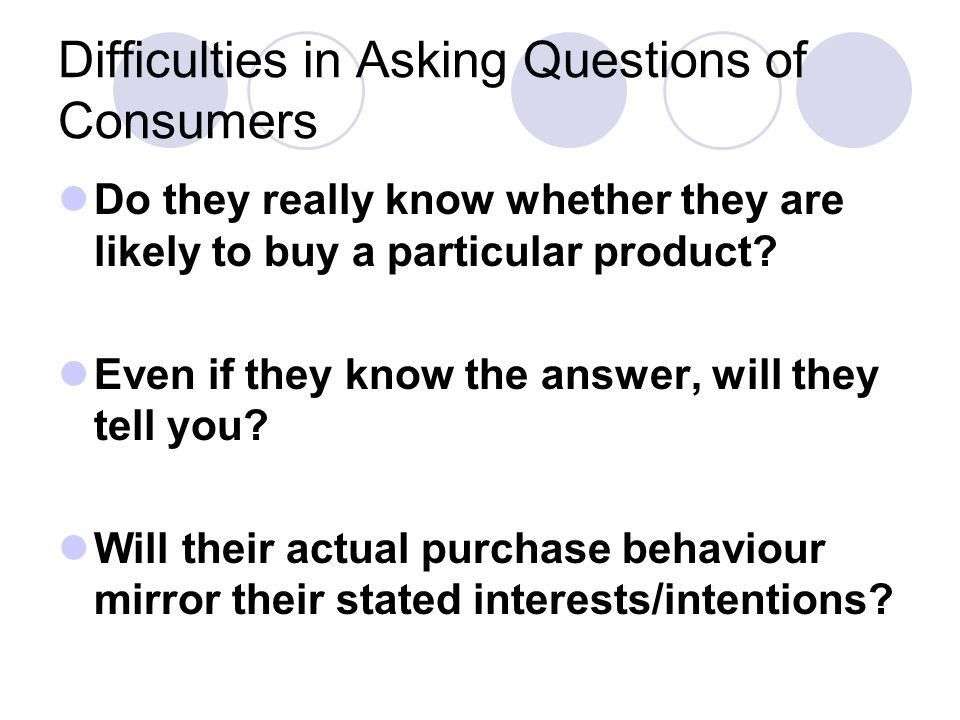 Difficulties in Asking Questions of Consumers