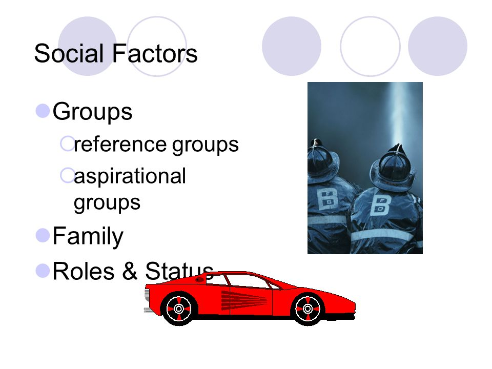 Social Factors Groups Family Roles & Status reference groups