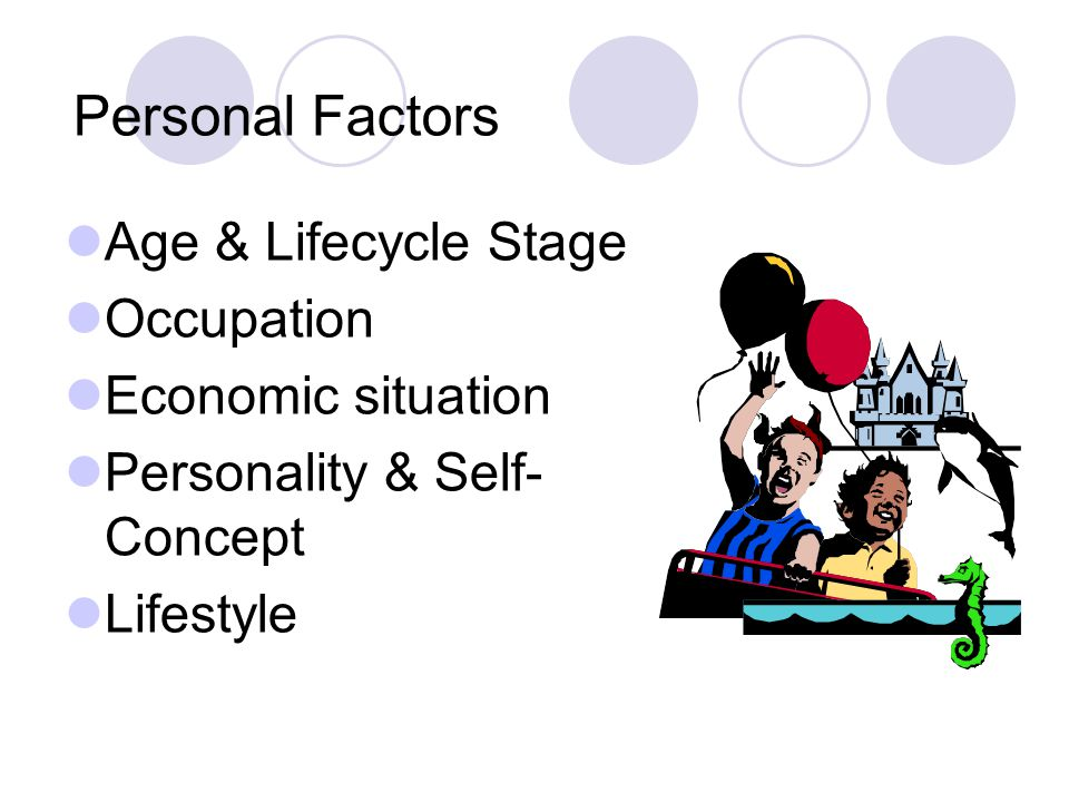 Personal Factors Age & Lifecycle Stage Occupation Economic situation