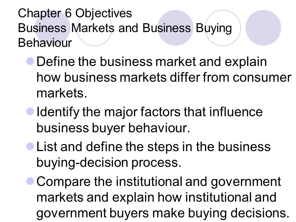 Chapter 6 Objectives Business Markets and Business Buying Behaviour