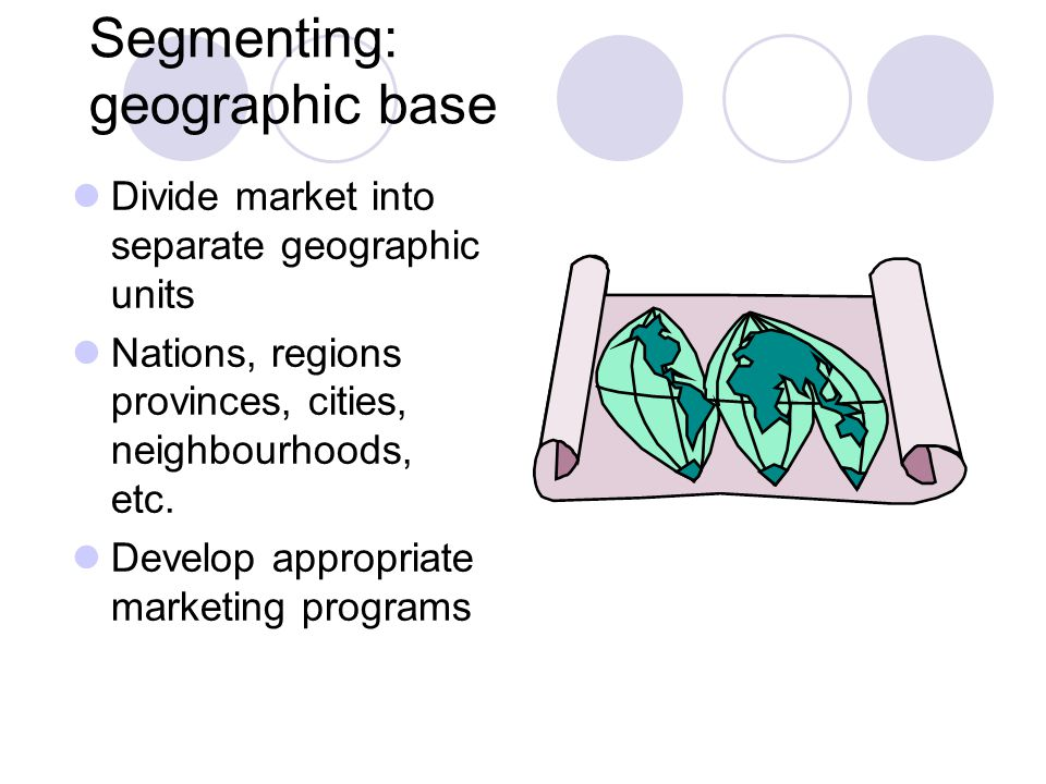 Segmenting: geographic base