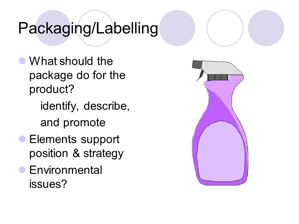 Packaging/Labelling What should the package do for the product