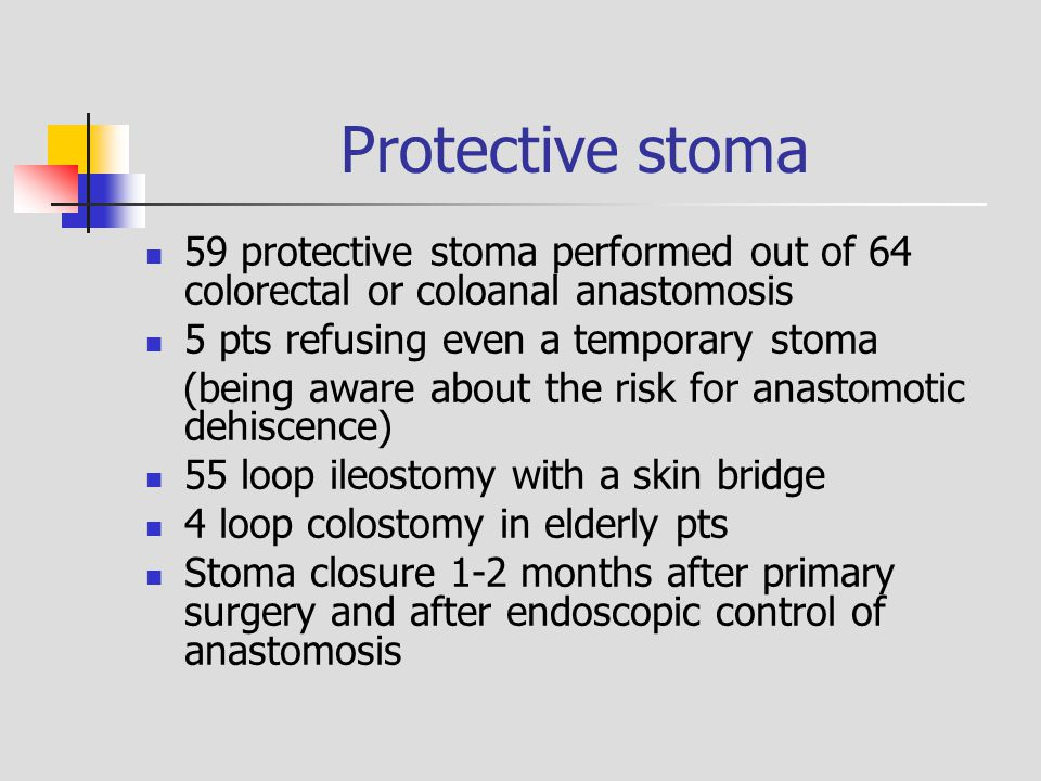 Protective stoma 59 protective stoma performed out of 64 colorectal or coloanal anastomosis. 5 pts refusing even a temporary stoma.