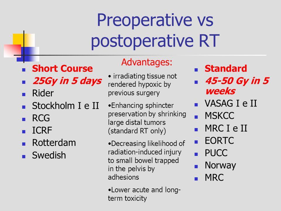 Preoperative vs postoperative RT