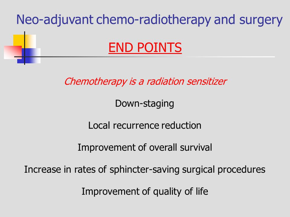 Neo-adjuvant chemo-radiotherapy and surgery