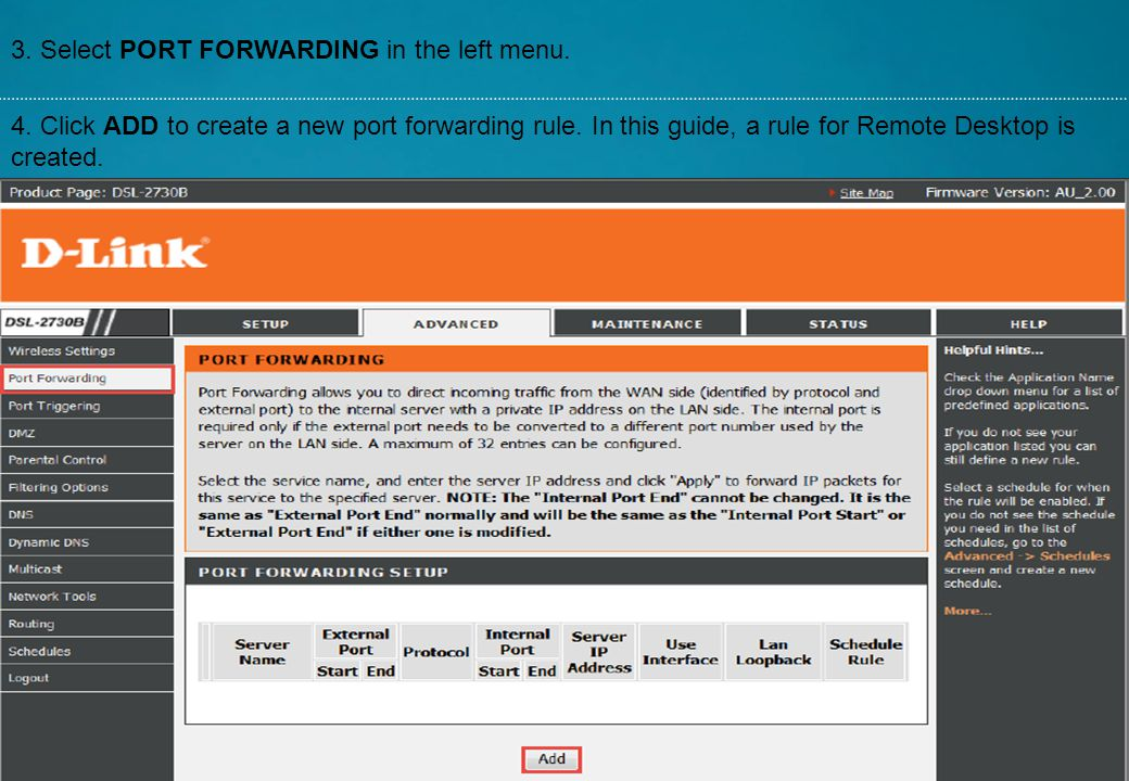 3. Select PORT FORWARDING in the left menu.
