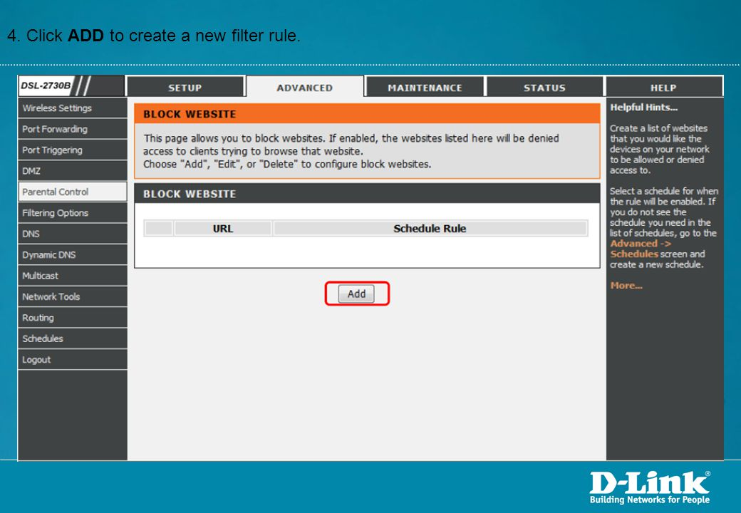 4. Click ADD to create a new filter rule.