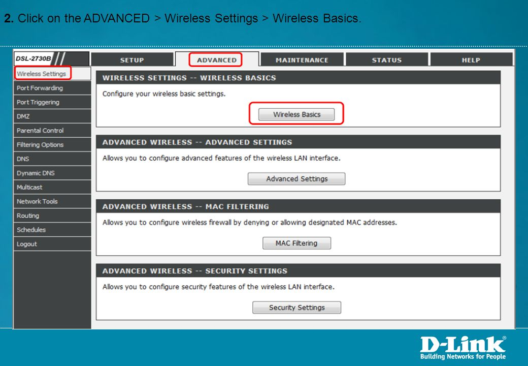 2. Click on the ADVANCED > Wireless Settings > Wireless Basics.