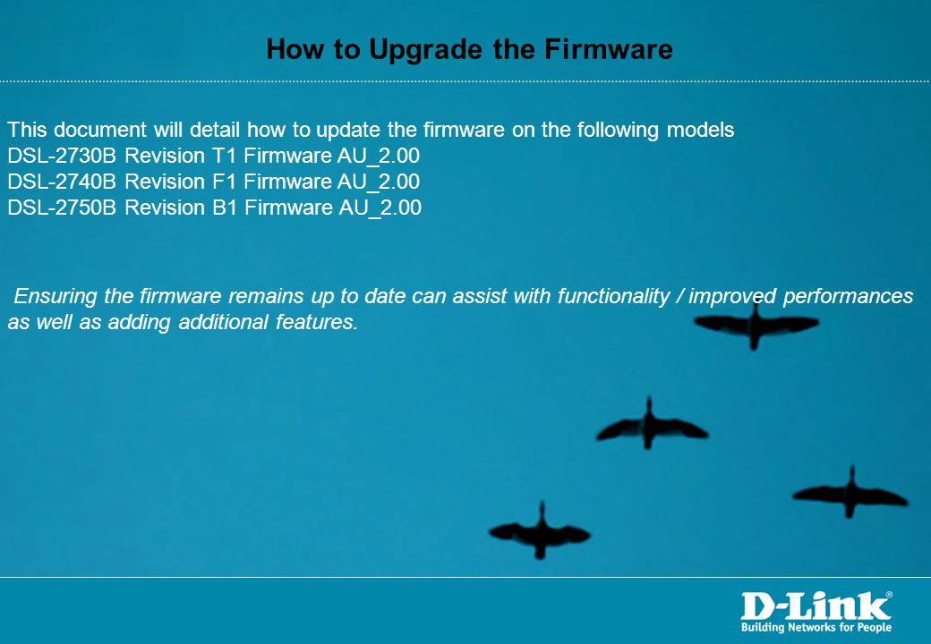How to Upgrade the Firmware
