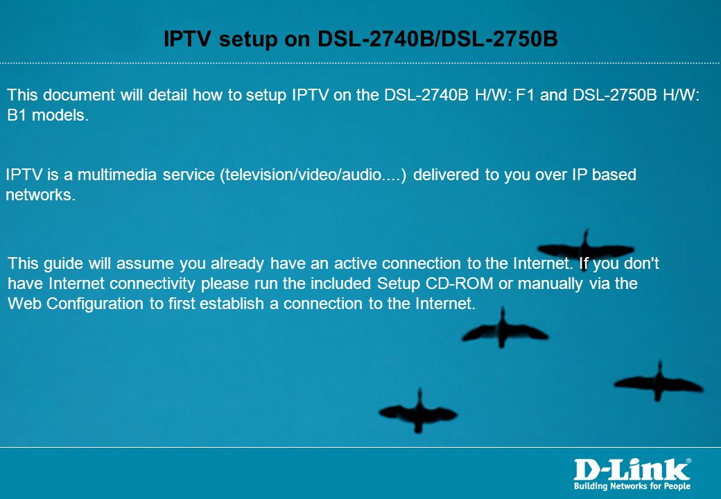 IPTV setup on DSL-2740B/DSL-2750B