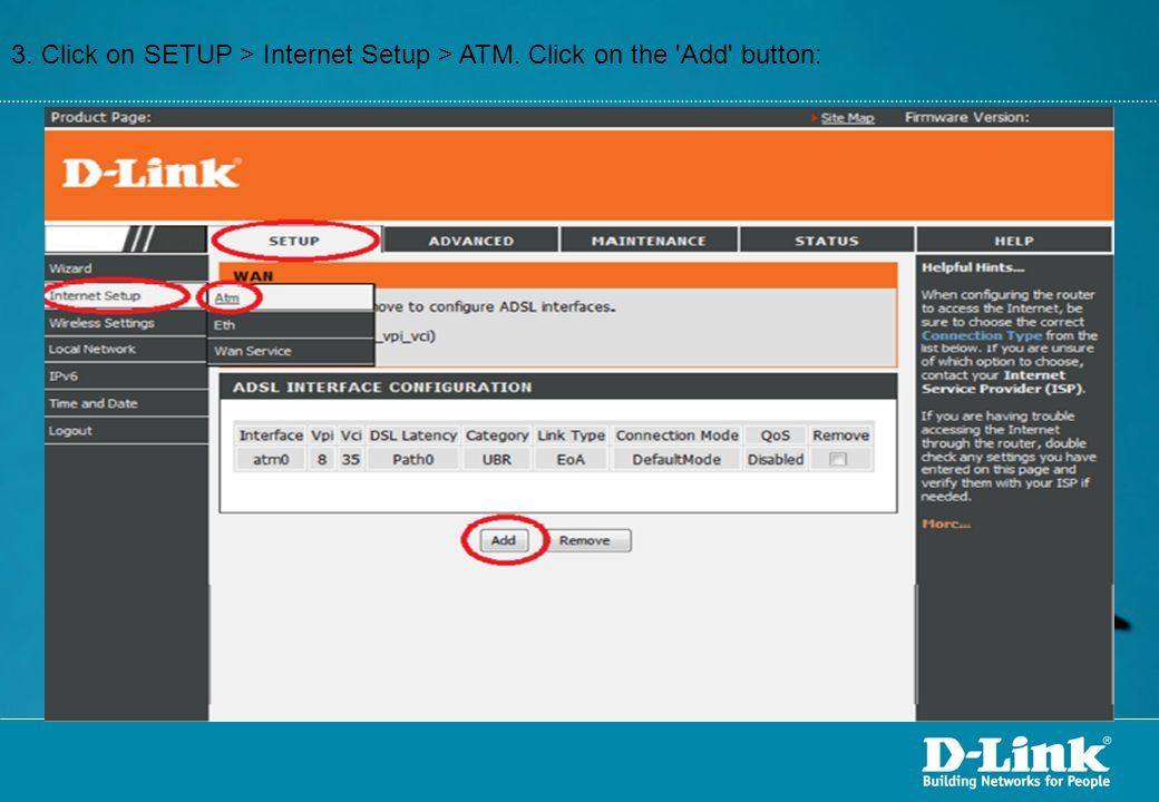 3. Click on SETUP > Internet Setup > ATM