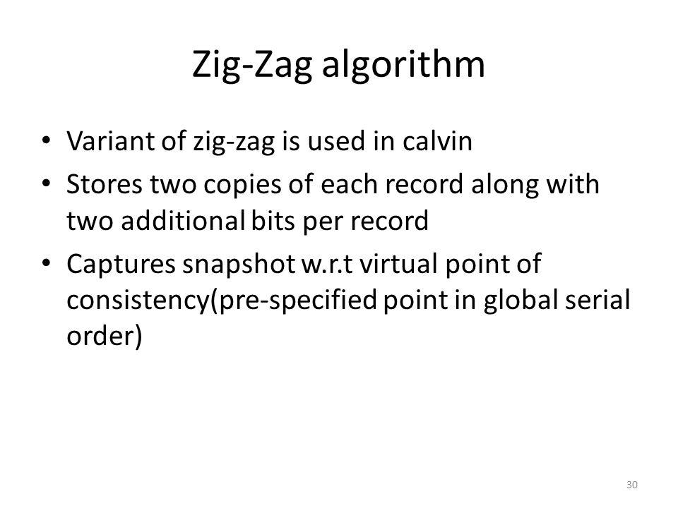 Zig-Zag algorithm Variant of zig-zag is used in calvin