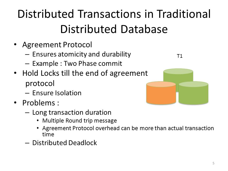 Distributed Transactions in Traditional Distributed Database