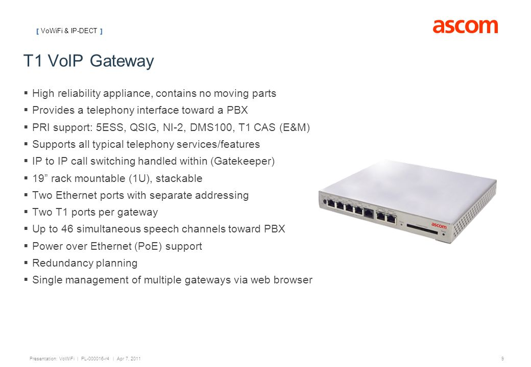 T1 VoIP Gateway High reliability appliance, contains no moving parts