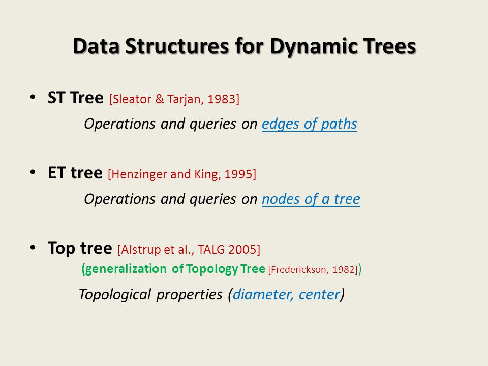 Data Structures for Dynamic Trees
