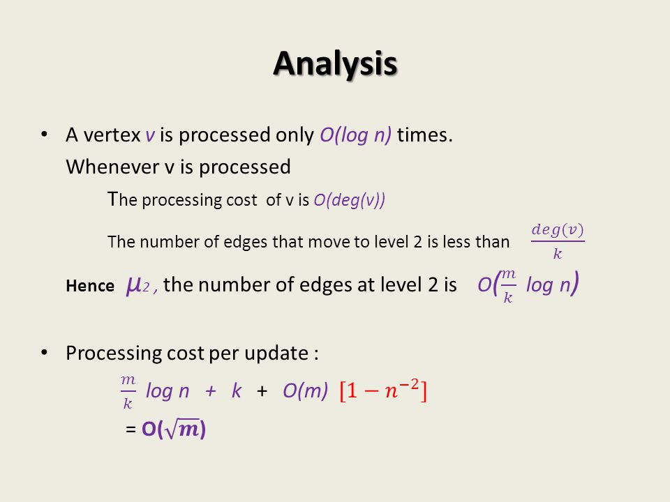 Analysis A vertex v is processed only O(log n) times.