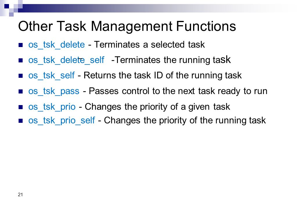 Other Task Management Functions